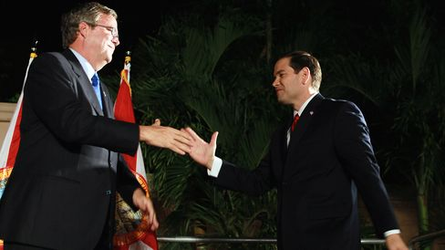Republican nominee for Florida U.S. Senator Marco Rubio (R) is greeted by former Governor of Florida Jeb Bush during his 'Reclaim America Victory Celebration' at the Biltmore Hotel on November 2, 2010 in Coral Gables, Florida.