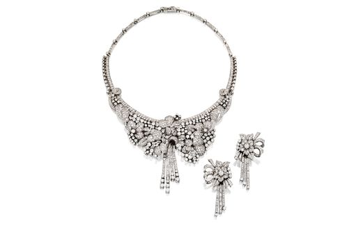 Platinum and Diamond Necklace and Earclips