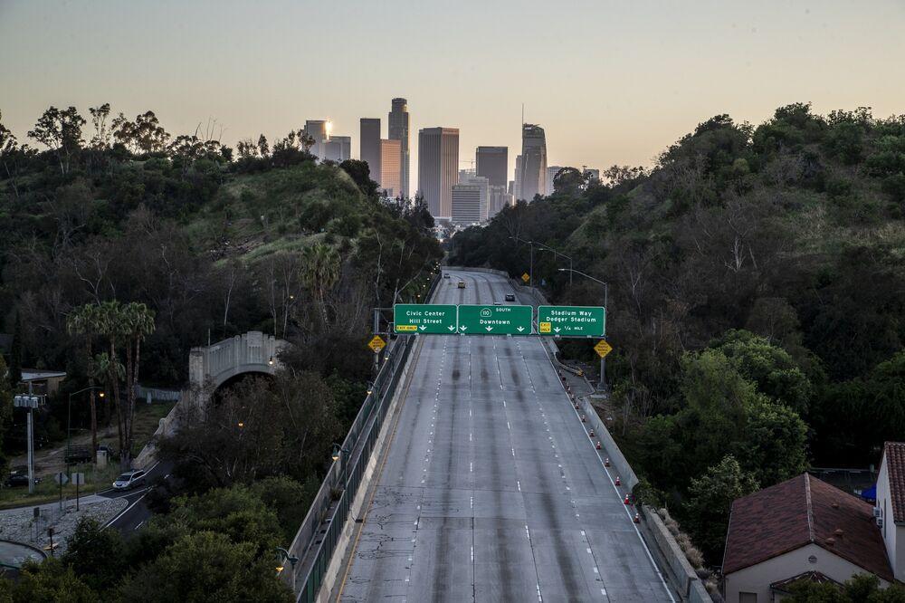 The 110 freeway in Los Angeles—traffic-free during coronavirus lockdowns. But that won't last.