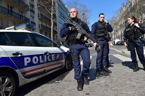 Police secure the scene near IMF offices in Paris, March 16.