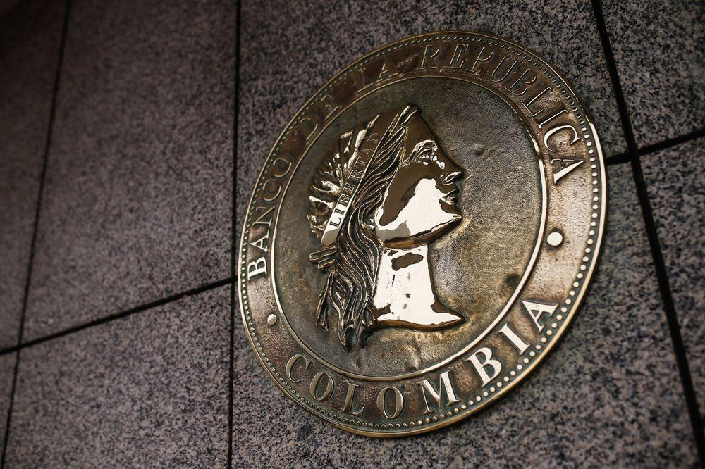 A Seal Is Displayed Outside The Central Bank Of Colombia In Bogota