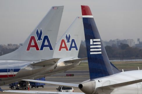 American Airlines and US Airways Jets Sit in Washington, D.C.