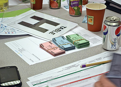 Low-tech props for Hohmann's high-concept budgeting game
