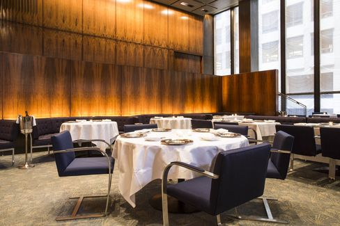 Custom Brno chairs by Ludwig Mies van der Rohe: Philip Johnson specified that custom versions of Mies's cantilevered Brno chair be the dining chair for the Four Seasons restaurant.