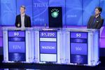 Human 'Jeopardy!' champions Ken Jennings and Brad Rutter face off against IBM's computer in 2011.