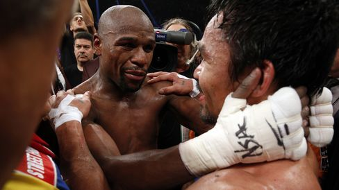 Boxers Floyd Mayweather and Manny Pacquiao