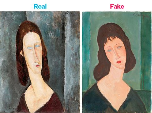 A painting by Amedeo Modigliani, Blue Eyes, from 1917, and a painting in the style of Modigliani by Elmyr de Hory, from 1975.