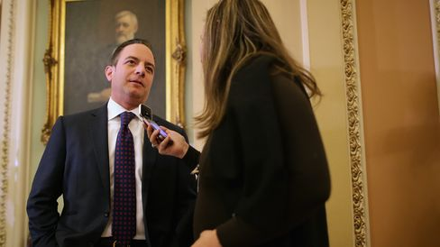 Republican National Committee Chairman Reince Priebus talks to a reporter after attending the weekly Republican Senate policy luncheon at the U.S. Capitol on Feb. 3, 2015, in Washington.