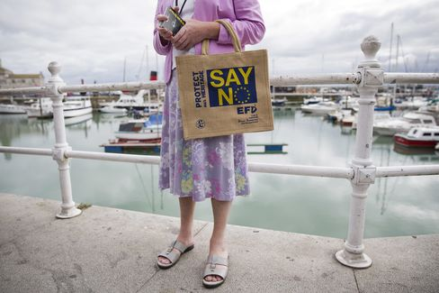 A supporter hands out U.K. Independence Party (UKIP) leaflets in Ramsgate, east of London, on Sept. 7.