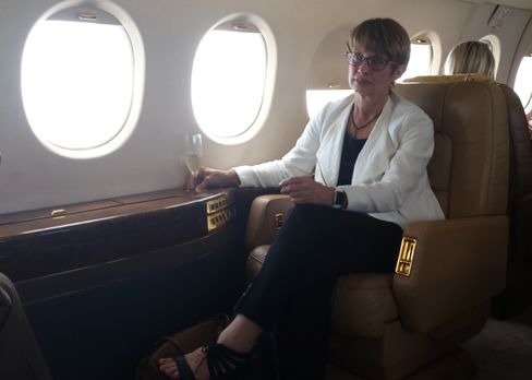 Jeanette Rogovin on her July 31 private jet flight to Atlanta.