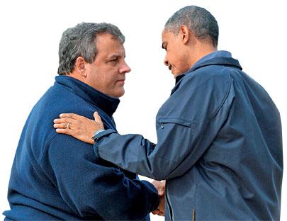 New Jersey Governor Chris Christie and President Barack Obama