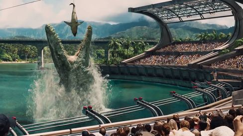 Jurassic World's seaside stadium goes wild during the Mosasaurus Feeding Show. Source: Universal Pictures' Jurassic World Official Teaser Trailer, © Universal Pictures/YouTube via Bloomberg