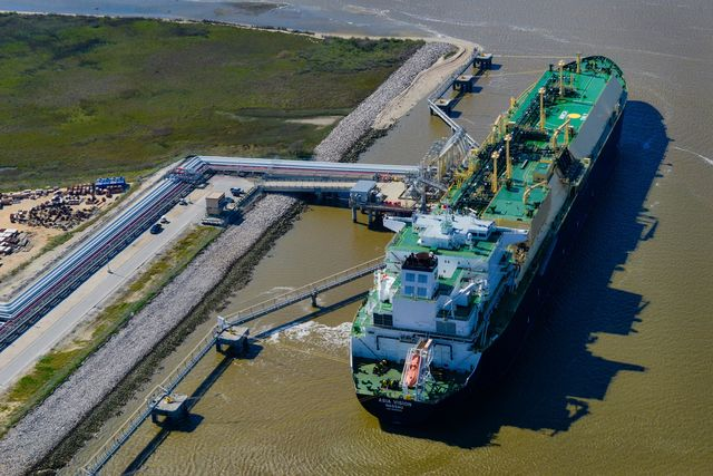 LNG carrier ship marking the historic start of U.S. shale exports in February 2016