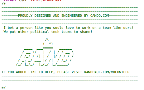 A text version of Rand Paul's 2016 campaign logo hidden within the source code of RandPaul.com