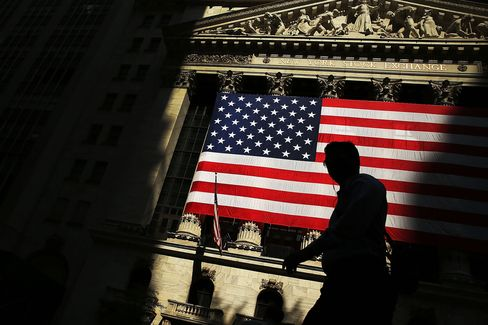The New York Stock Exchange (NYSE) is shown on July 6, 2015 in New York City.