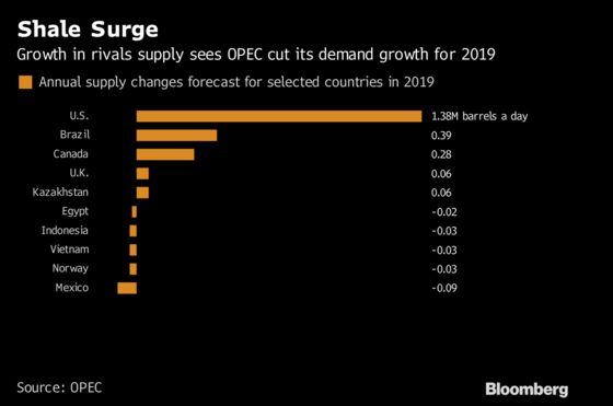 OPEC Sees Weaker Demand for Its Crude Next Year as Rivals Surge