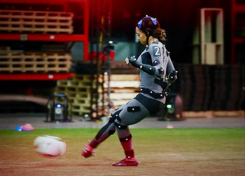 Sydney Leroux of the U.S. Women's National Team playing soccer in a motion capture suit at the EA MOCAP facility in Burnaby, British Columbia on April 7, 2015.