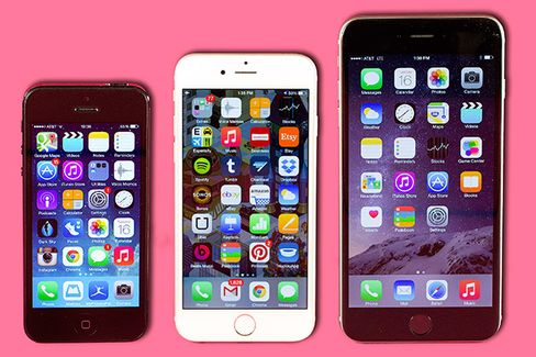 From left: iPhone 5, iPhone 6, and iPhone 6 Plus