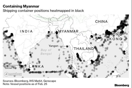 Containers Pile Up at Myanmar Ports as Coup Protests Snarl Trade