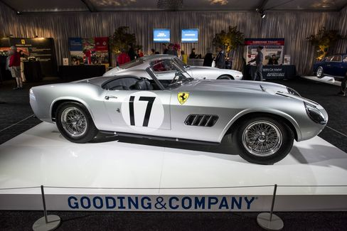 A 1959 Ferrari 250 GT LWB California Spider during the Gooding & Co. auction at Pebble Beach.