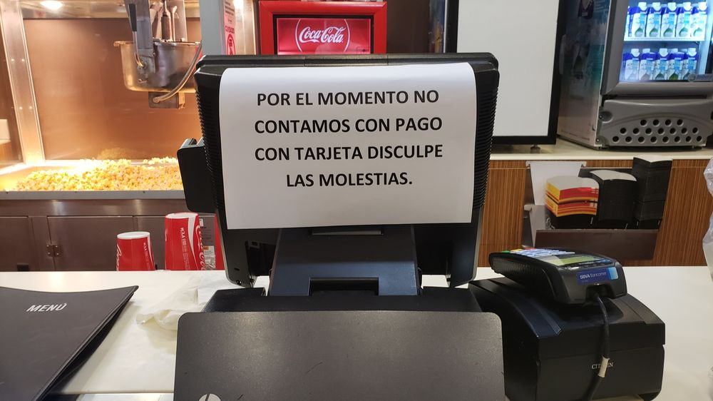 A cash register is unable to process card payments at a Cinemex theater in Mexico City.
