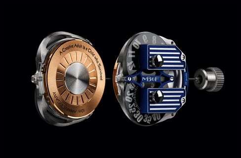 The movement has MB&F's anniversary motto engraved on the rotor.