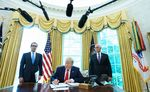 US President Donald Trump signs an executive order on Iran sanctions in the Oval Office of the White House on June 24.