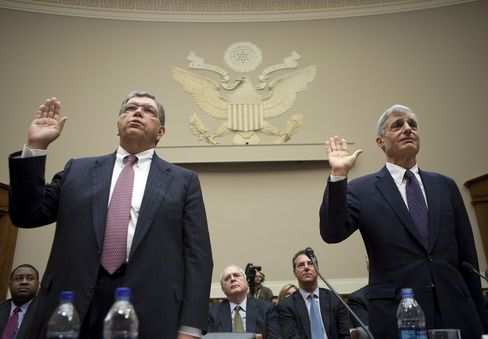 Prince and Rubin are sworn in at today's FCIC hearing