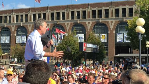 Republican presidential candidate Jeb Bush appears at the Iowa State Fair on Aug. 14, 2015.
