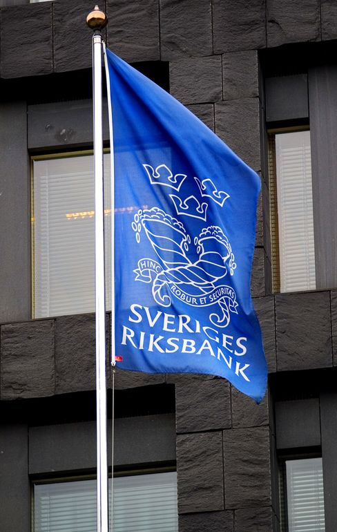 A flag of the Swedish Central Bank flies in Stockholm