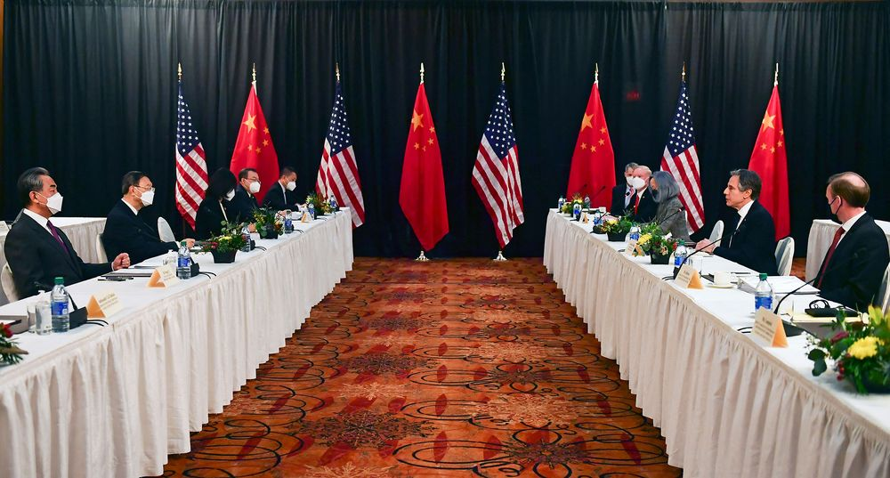 The Chinese and U.S. delegations face off in Alaska.