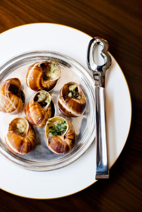 Snails with gorgonzola and garlic butter.