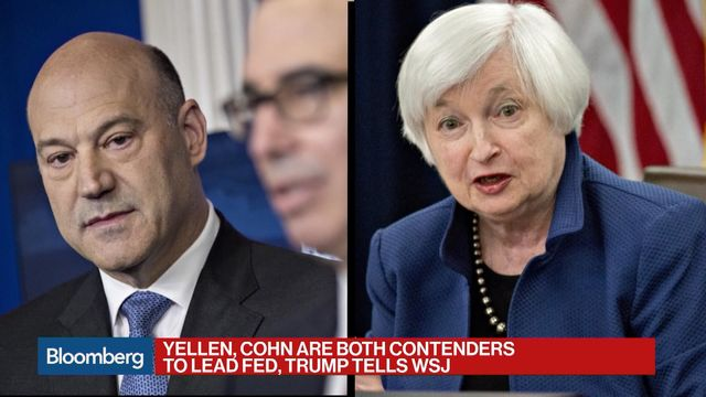 Trump says Yellen and Cohn possible Fed chair picks