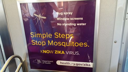 Signs in NYC's subway system warning against Zika.