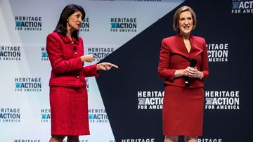 Governor nikki haley and presidential candidate carly fiorina speak to voters at the heritage action forum on sept. 18 in greenville, south carolina.