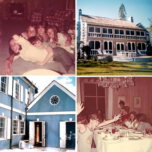 Clockwise from top left: a vintage shot of the living room with Harris's son Damian, friend Melissa Maura, Harris's youngest son Jamie, their cousin Simon, and Sandra, another friend; the exterior during renovations; Jamie at the dining room table with friends; another shot of the house undergoing construction.