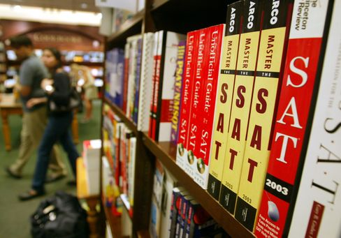 SAT Test Preparation Books Sit on a Shelf at a Barnes and Noble