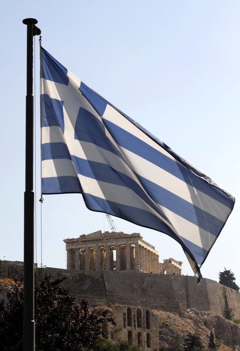 The Greek National Flag Flies At The Foot Of Acropolis hill