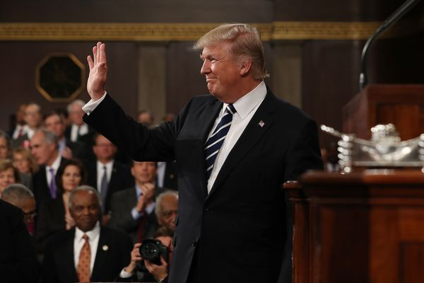 Is donald trump finally dressing like a president bloomberg us president donald trump waves while arriving for a joint session of congress in washington ccuart Gallery