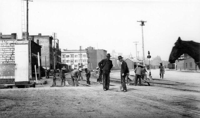 Street railroad construction, circa early 1900s