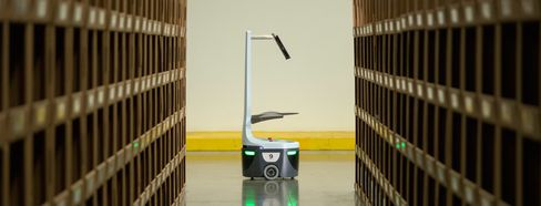 A warehouse robot from Locus Robotics.