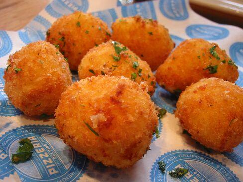 Fried rice balls, or arancini, at Delfina.
