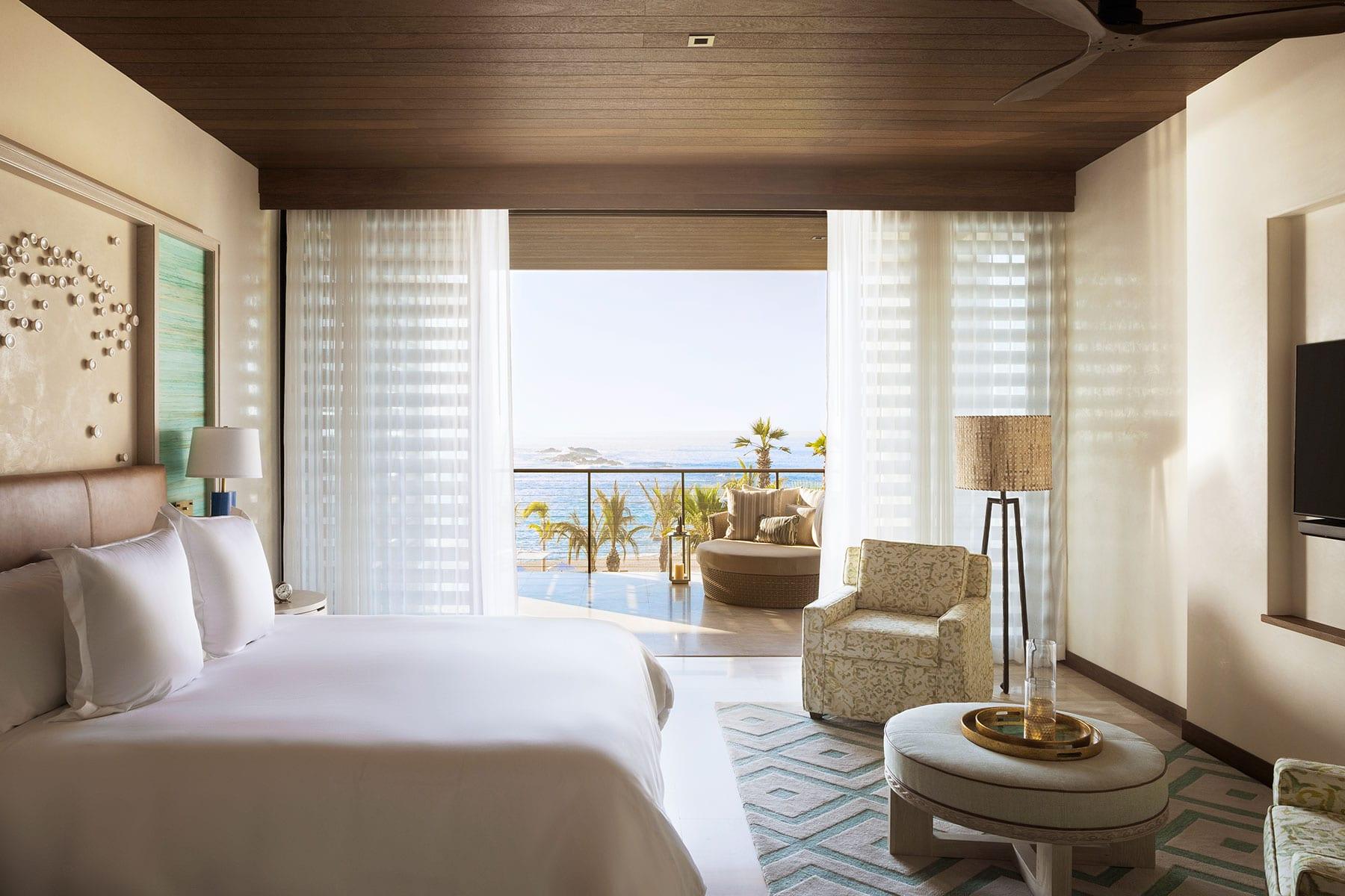 An ocean view room atChileno Bay Resort & Residences in Cabo San Lucas, Baja California, Mexico.
