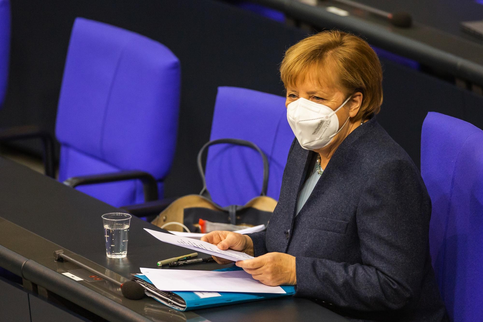 Chancellor Merkel Addresses Bundestag As Germany Considers Lockdown Extension