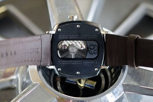 You can see the movement at work through a window on the watch's back.
