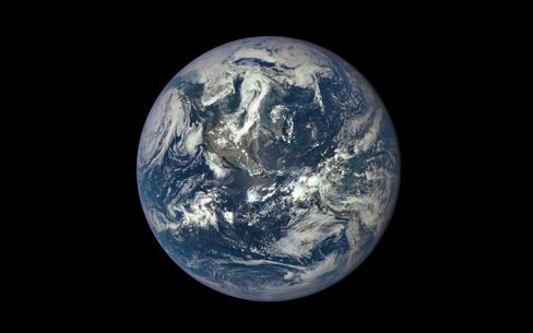 The first image of Earth released by NASA's Deep Space Climate Observatory, whose camera, a million miles away, will send home new photos every day.