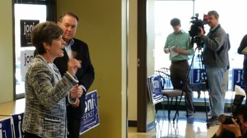 Mike Huckabee joins Joni Ernst, the Republican nominee for Senate, in Council Bluffs.