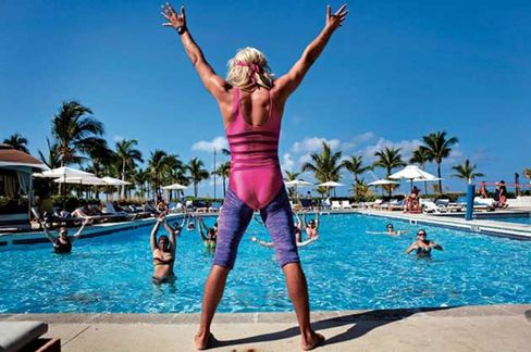 The spirit of the '80s lives on at a 2012 aqua gym class in Turks & Caicos.