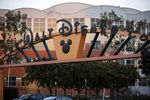 Signage is displayed at the entrance to The Walt Disney Co. Studios in Burbank, California, U.S.