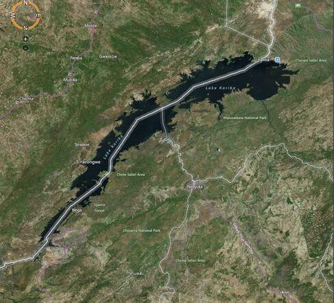 Map: Kariba dam, straddling the border of Zambia and Zimbabwe